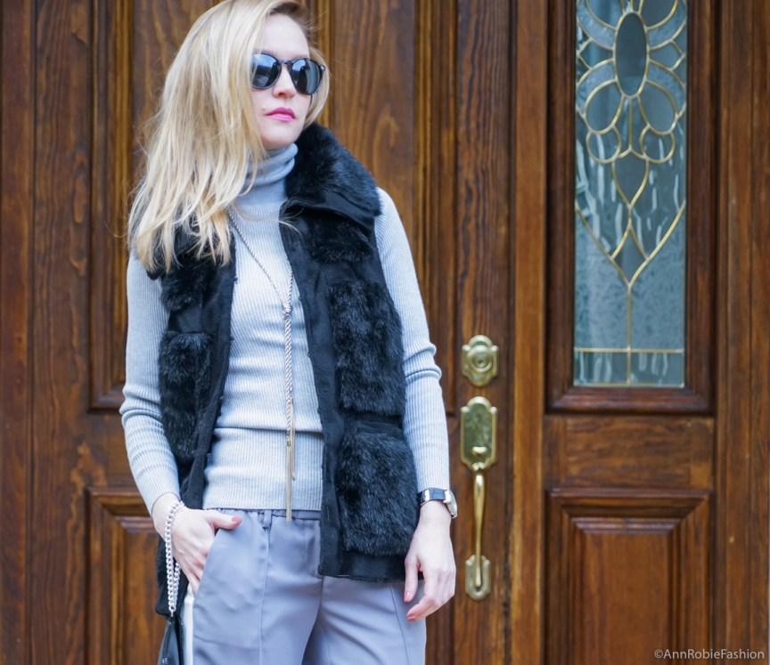 Winter outfit ideas - Grey striped pants LOFT, grey turtleneck sweater LOFT, faux fur vest Rachel Zoe, ankle booties Vince Camuto - winter outfit idea by petite style blogger AnnRobieFashion