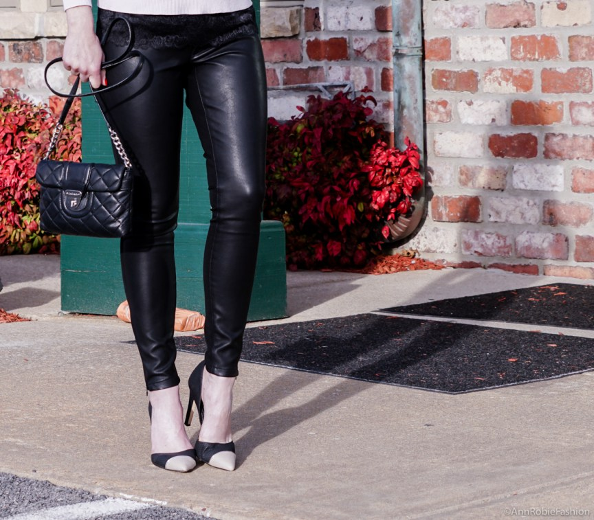 How to wear pale pink & black leather: Pale pink sweater Ann Taylor, skinny leather pants Banana Republic - outfit by petite style blogger AnnRobieFashion