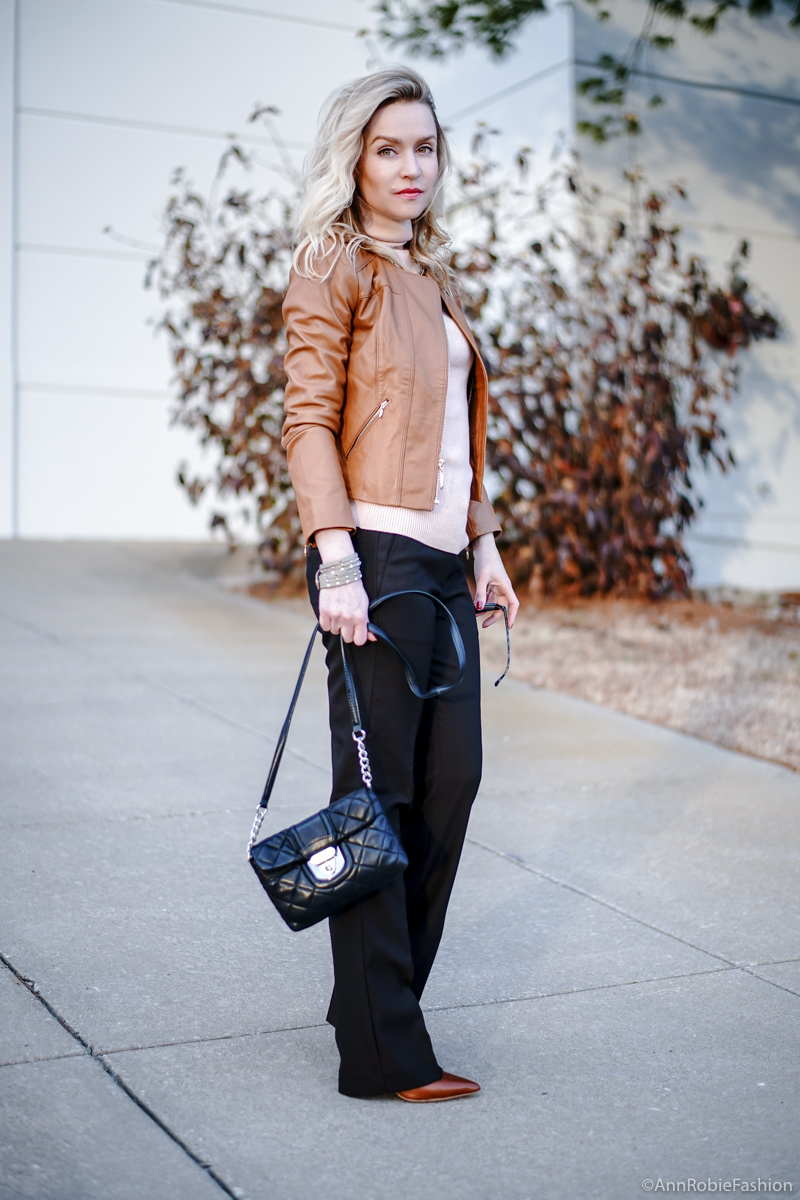 Brown, peach and beige colors: Peach turtleneck sweater LOFT, leather jacket WHBM in vachetta, brown pants Ann Taylor, heels Louise et Cie - outfit idea by petite style blogger AnnRobieFashion