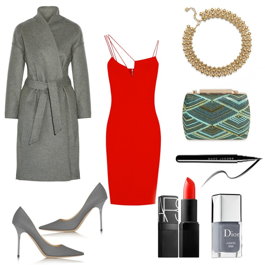 Valentine's Day Outfit Ideas: Victoria Beckham's red dress, Jimmy Choo's 'Abel' pumps, NARS lipstick COLOR Heat Wave semi matte orange red