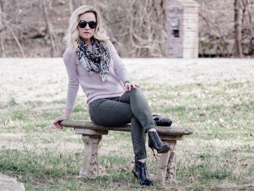 Casual chic: pale pink sweater Ann Taylor, khaki jeans Pacsun, black leather ankle boots Vince Camuto, khaki scarf - outfit by petite style blogger AnnRobieFashion