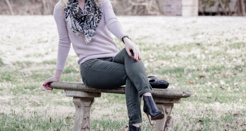 Pale colors for spring: pale pink sweater Ann Taylor, khaki jeans Pacsun, black leather ankle boots Vince Camuto, khaki scarf - outfit by petite style blogger AnnRobieFashion