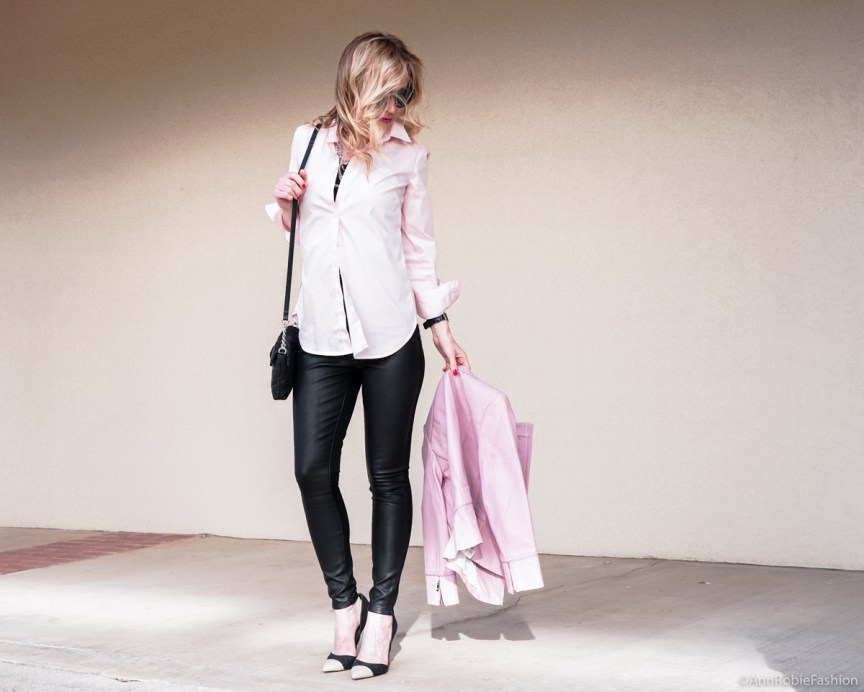 Pale Palette: Lilac leather jacket WHBM, pale pink buttoned down shirt Ann Taylor, skinny leather pants Banana Republic - outfit by petite style blogger AnnRobieFashion