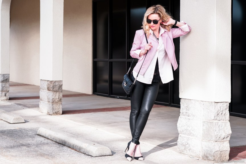 Lilac leather jacket WHBM, pale pink buttoned down shirt Ann Taylor, skinny leather pants Banana Republic - outfit by petite style blogger AnnRobieFashion