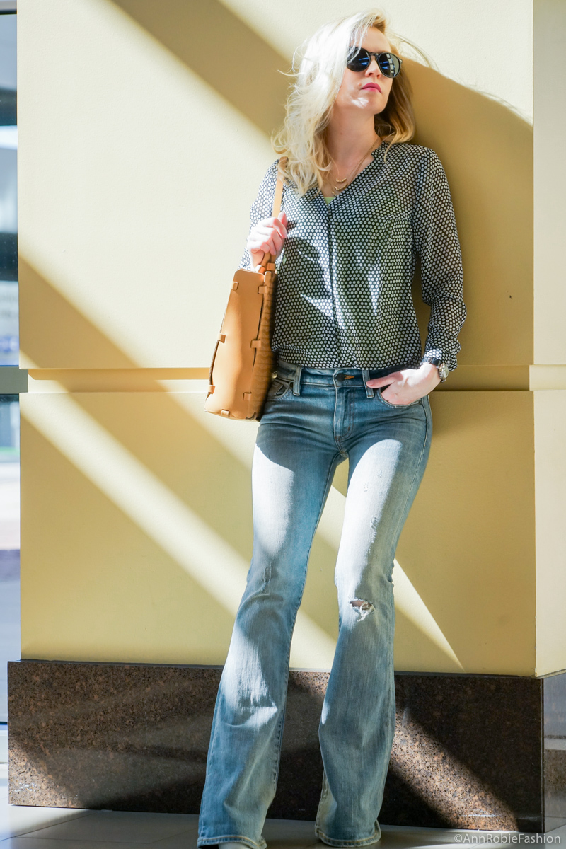 Spring in 70s: Sheer blouse Ann Taylor, flared jeans Ralph Lauren - casual outfit by petite style blogger AnnRobieFashion