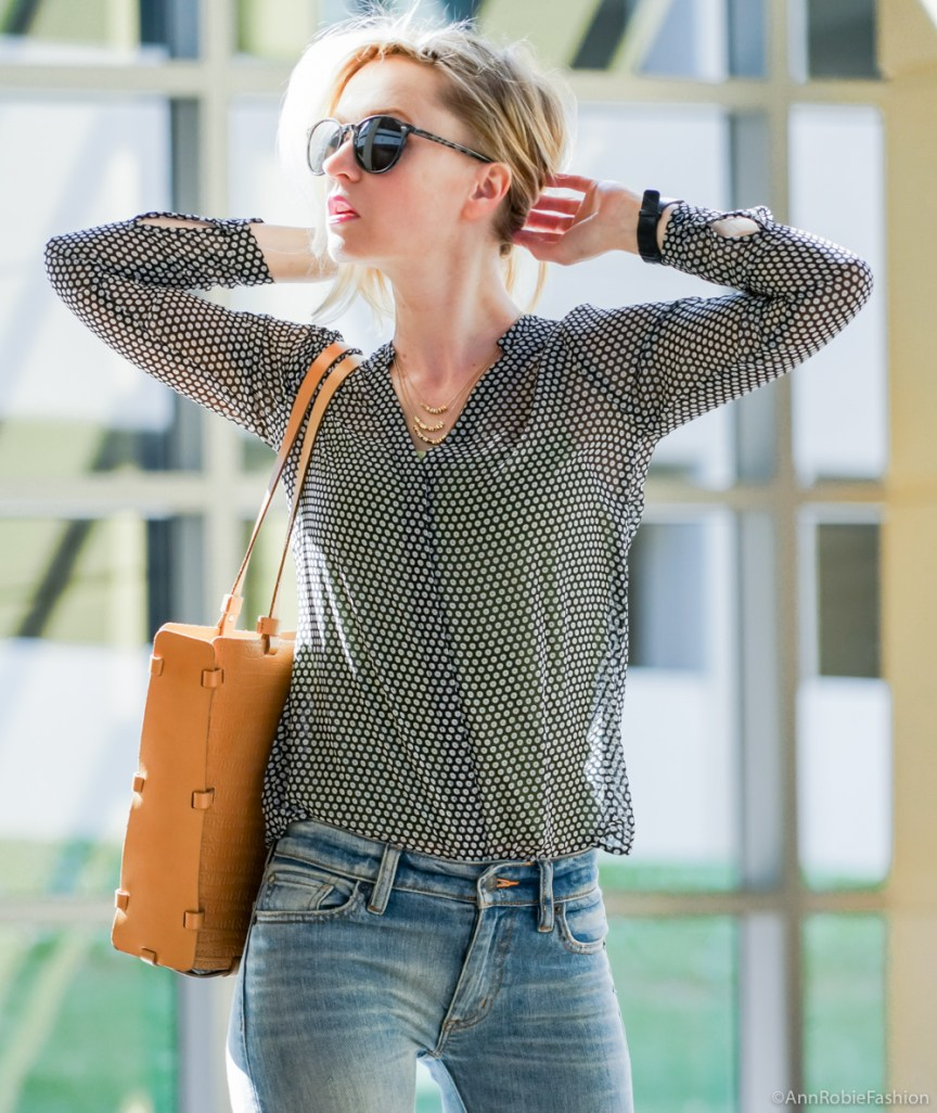 Spring street style: Sheer blouse Ann Taylor, flared jeans Ralph Lauren - casual outfit by petite style blogger AnnRobieFashion