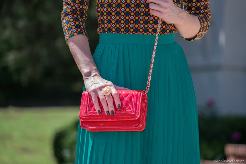 Green midi skirt, off-shoulder top, red cross-body bag - summer outfit by petite style blogger AnnRobieFashion 21