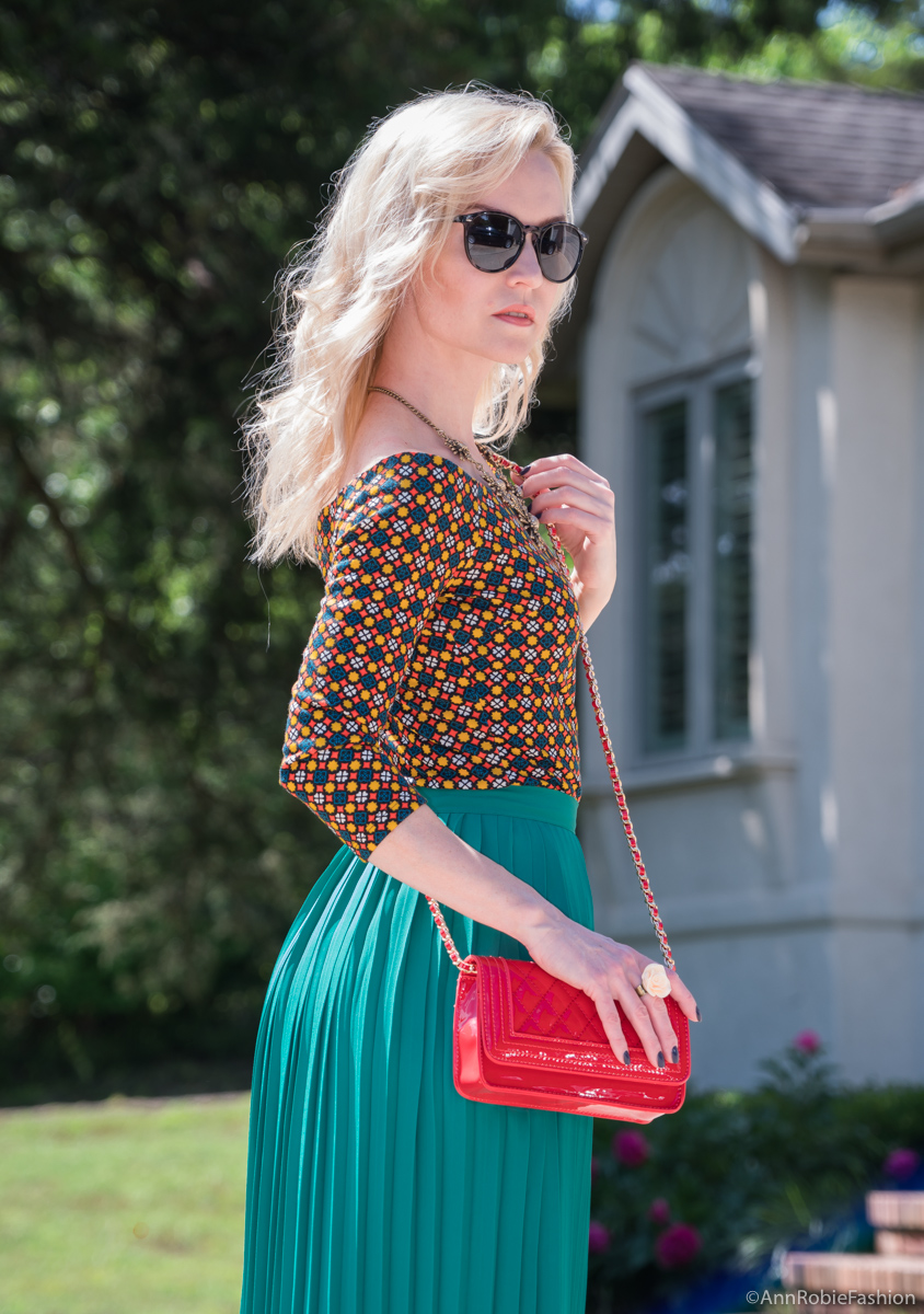 Green midi skirt, off-shoulder top, red cross-body bag - summer outfit by petite style blogger AnnRobieFashion 25