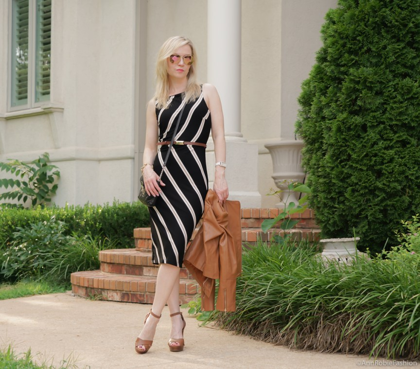 Black & brown striped bodycon dress White House Black Market, platform sandals White House Black Market - casual outfit by petite style blogger AnnRobieFashion
