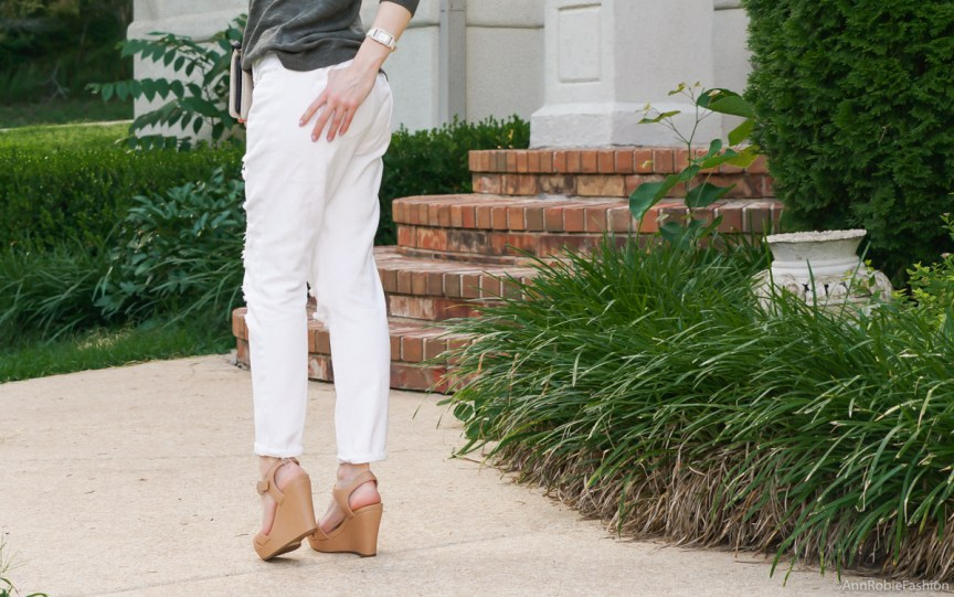 Dark green sweater Gap, white boyfriend jeans, tan wedges Gianni Bini - casual outfit by petite style blogger AnnRobieFashion