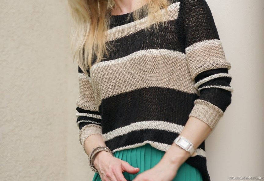 Stripe Vibes: Turquoise midi skirt, striped sweater Ann Taylor, platform sandals White House Black Market - casual outfit by petite style blogger AnnRobieFashion