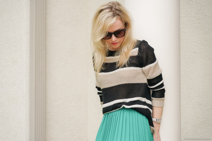 Turquoise & Brown: Turquoise midi skirt, striped sweater Ann Taylor, platform sandals White House Black Market - casual outfit by petite style blogger AnnRobieFashion