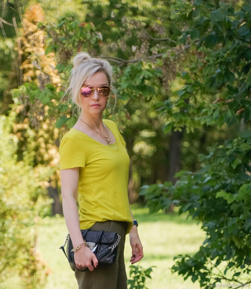 Green color palette for Summer: Avocado green T-shirt Ann Taylor, military green pants Asos, Timberland mustard yellow slip-on sneaker - outfit by petite style blogger AnnRobieFashion