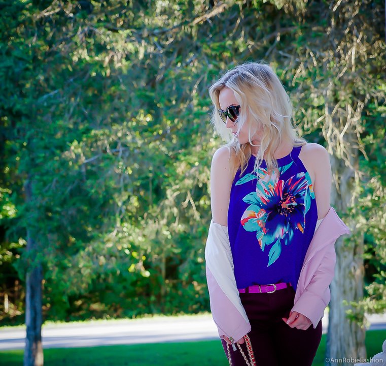 Lilac & Blue: lilac leather jacket WHBM, floral print top, burgundy skinny jeans WHBM - outfit by petite style blogger AnnRobieFashion
