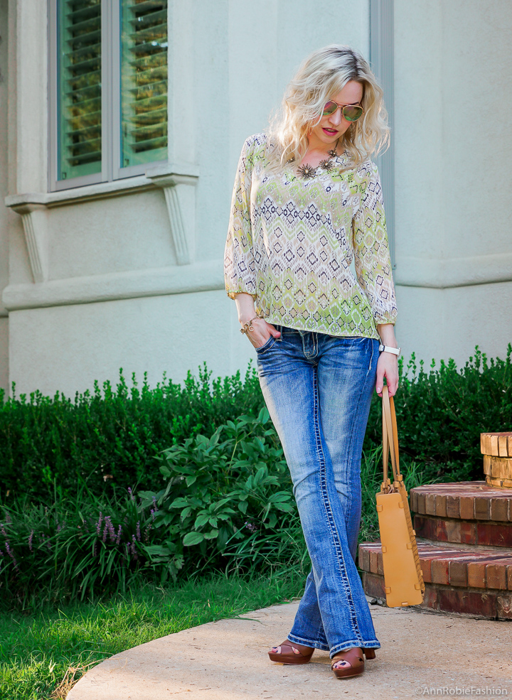 Bright colors for fall: Miss Me jeans, avocado green blouse Ann Taylor, platform sandals White House Black Market - outfit by petite style blogger AnnRobieFashion