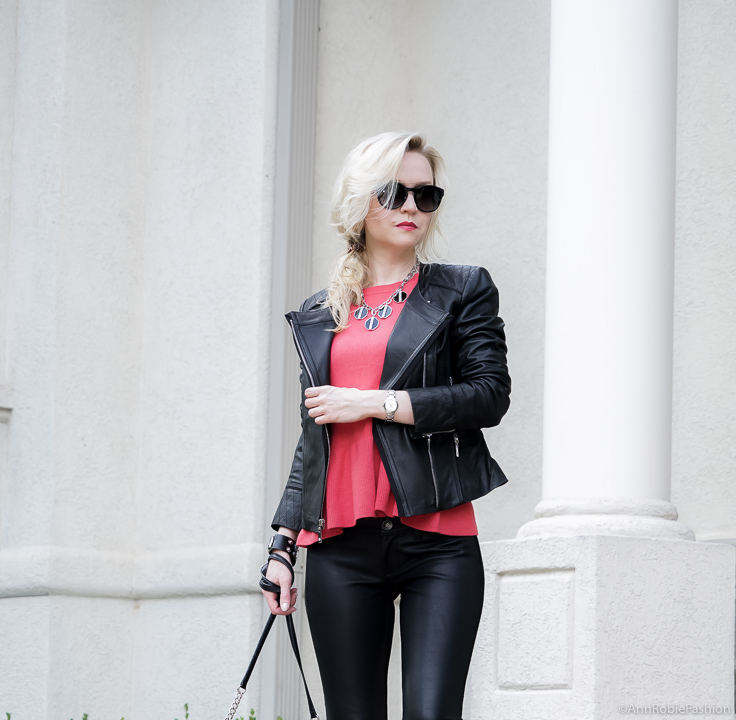 Leather outfit for fall: Red peplum sweater Ann Taylor, faux leather skinny pants Banana Republic, black leather jacket WHBM - fall outfit by petite style blogger AnnRobieFashion