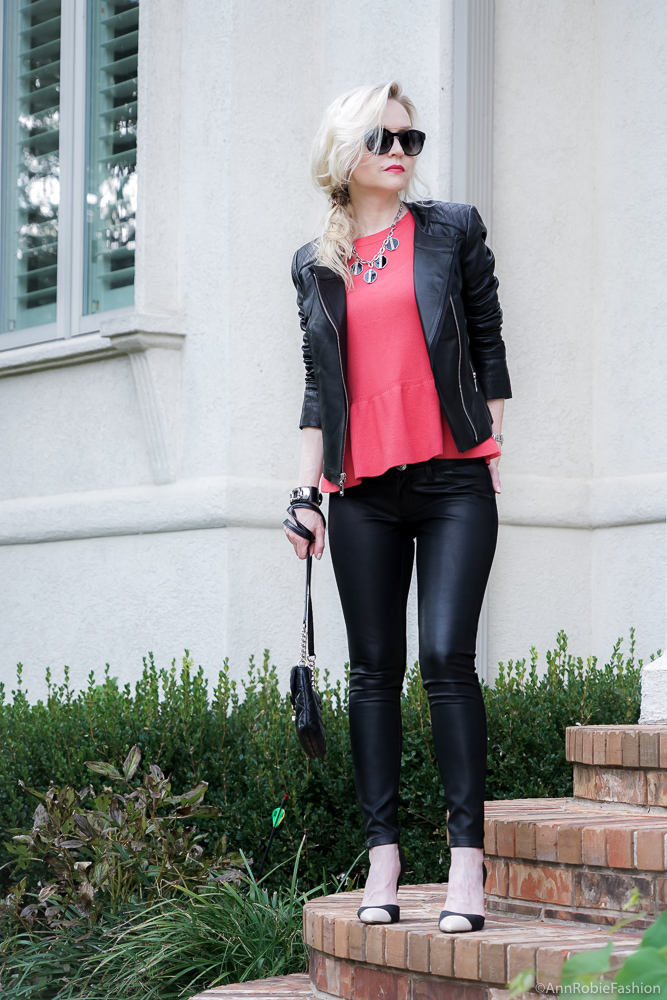 Leather outfit: Red peplum sweater Ann Taylor, faux leather skinny pants Banana Republic, black leather jacket WHBM - fall outfit by petite style blogger AnnRobieFashion