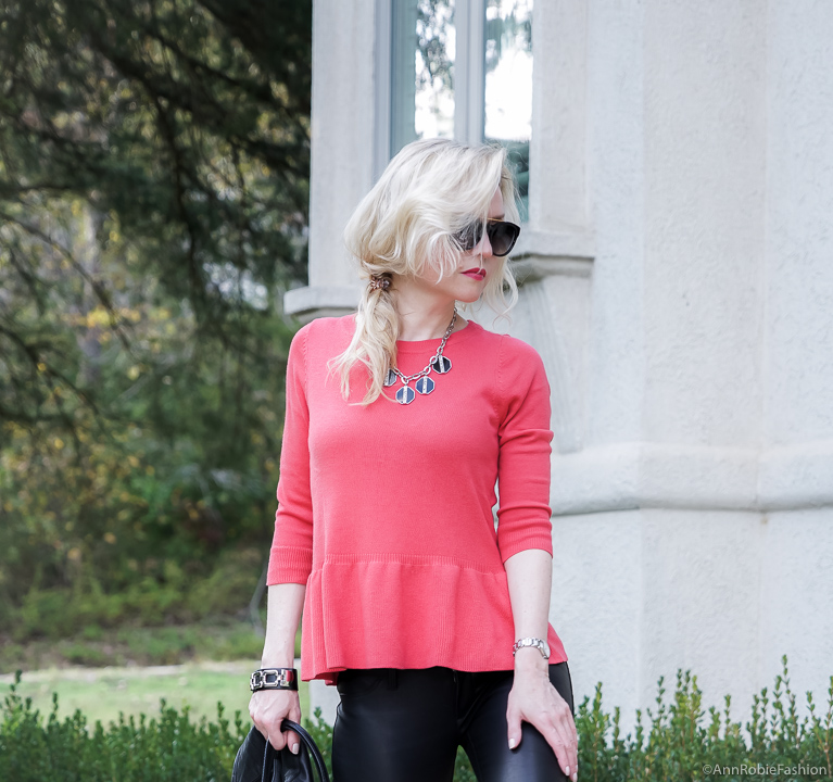 Red&Black: Leather outfit for fall: Red peplum sweater Ann Taylor, faux leather skinny pants Banana Republic, black leather jacket WHBM - fall outfit by petite style blogger AnnRobieFashion