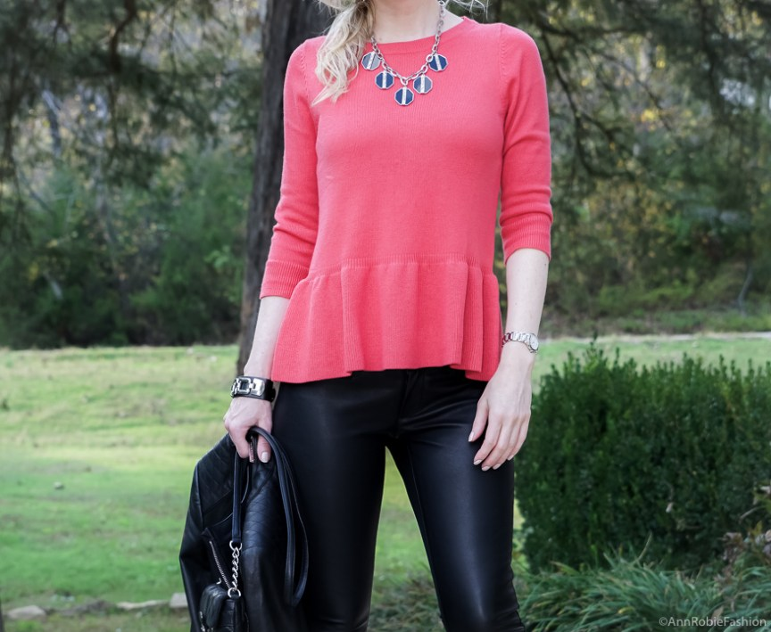 Red peplum sweater Ann Taylor, faux leather skinny pants Banana Republic, black leather jacket WHBM - fall outfit by petite style blogger AnnRobieFashion 19