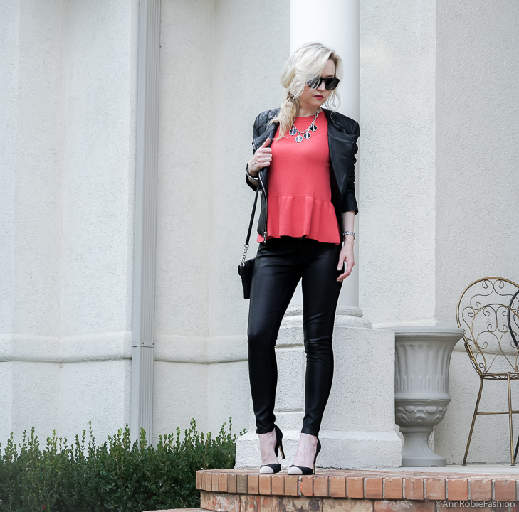 Fall outfit: Red peplum sweater Ann Taylor, faux leather skinny pants Banana Republic, black leather jacket WHBM - fall outfit by petite style blogger AnnRobieFashion