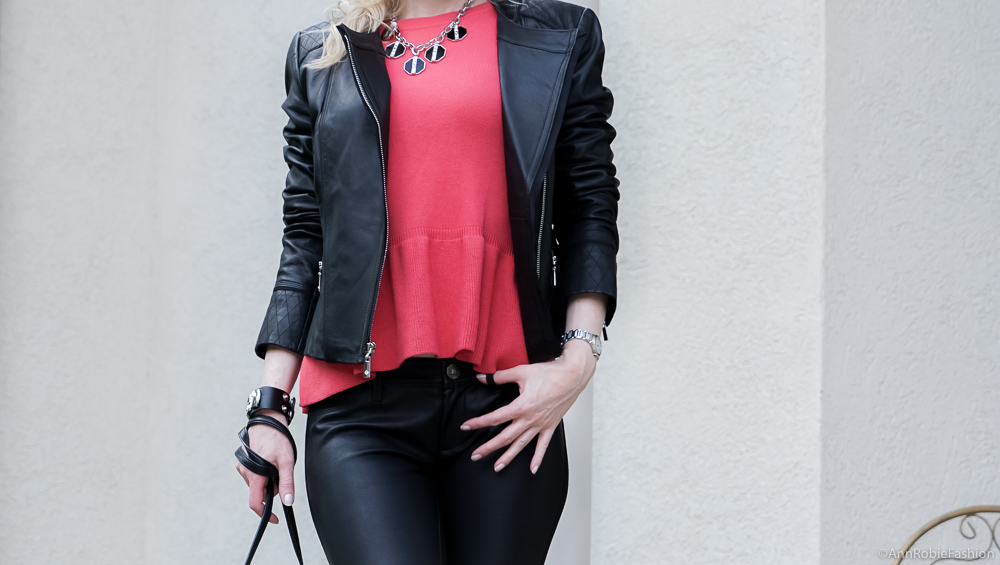 Fall Color Trend Red Peplum Top Outfit For Petites