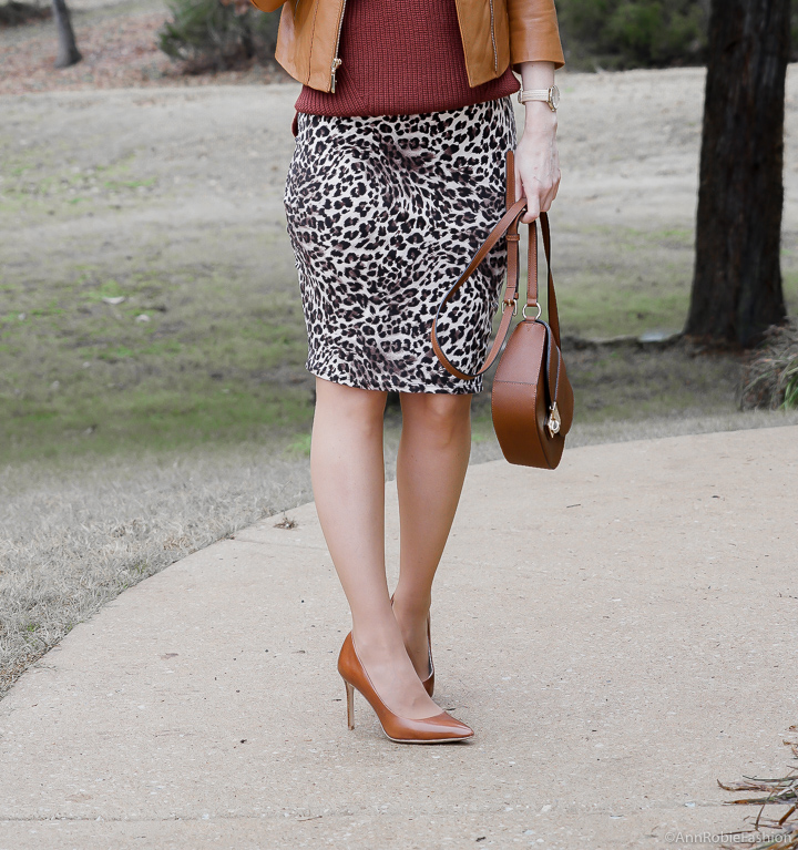 Animal print & Leather: Leopard pelcil skirt, brown sleeveless top, brown leather jacket - winter outfit by petite style blogger AnnRobieFashion