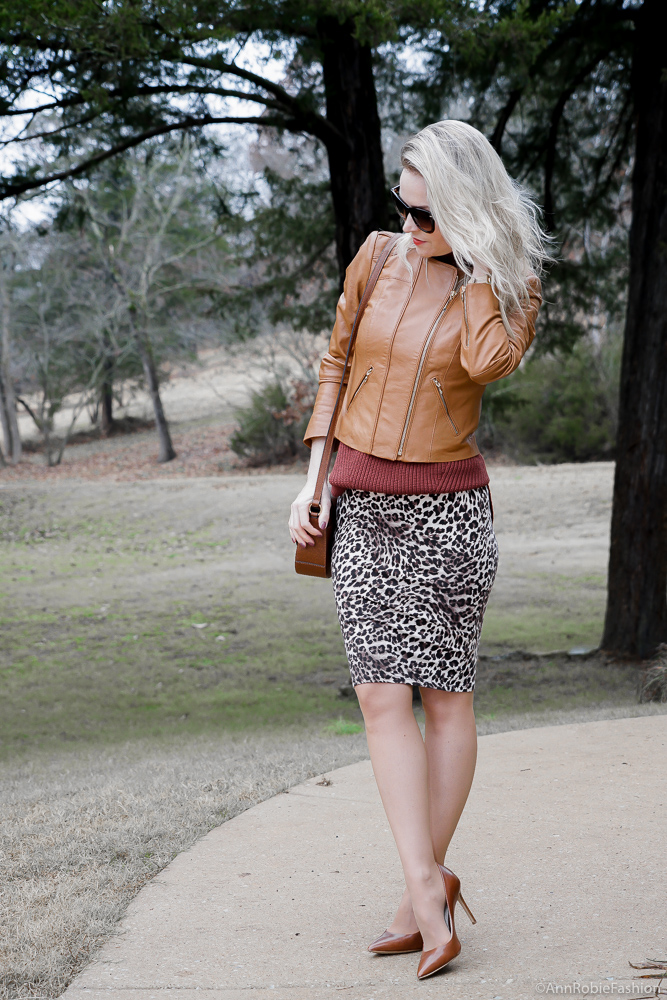 Leopard pelcil skirt, brown sleeveless top, brown leather jacket - winter outfit by petite style blogger AnnRobieFashion