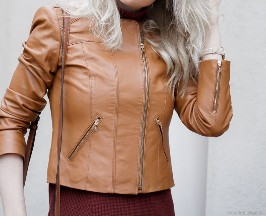 Warm Winter Colors: Leopard pelcil skirt, brown sleeveless top, brown leather jacket - winter outfit by petite style blogger AnnRobieFashion