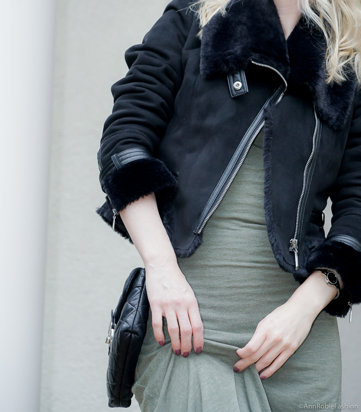 Shades of green - sage: outfit by petite style blogger Ann Robie