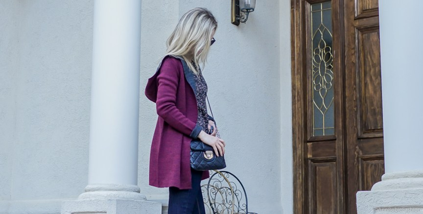 Winter Essentials: Marc Fisher suede booties, hooded cardigan, flared jeans WHBM - winter outfit by petite style blogger AnnRobieFashion