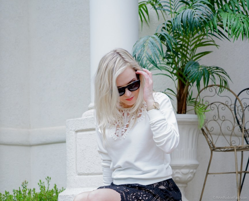 Romantic style: Black lace full skirt Target, white lace detail sweatshirt, heels - spring - summer outfit by petite style blogger AnnRobieFashion