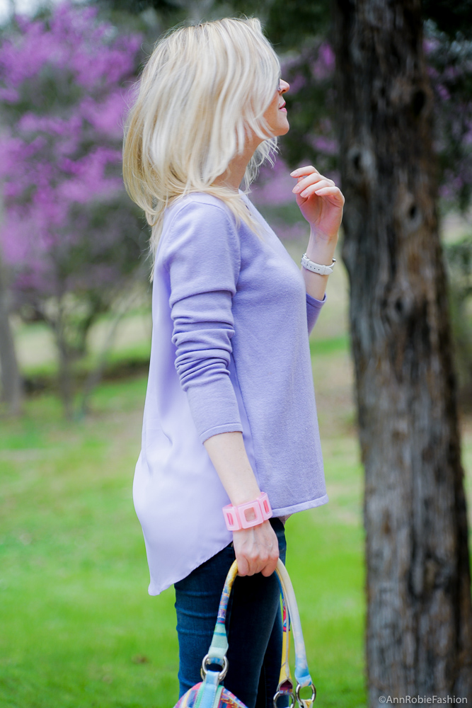 Bright colors for spring: Lilac top Ann Taylor, lace cami Loft, skinny jeans Target, purple suede heels - outfit by petite style blogger AnnRobieFashion