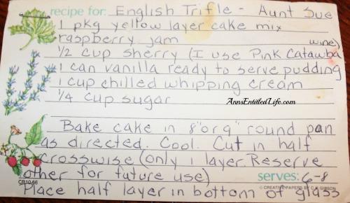 English Trifle recipe card