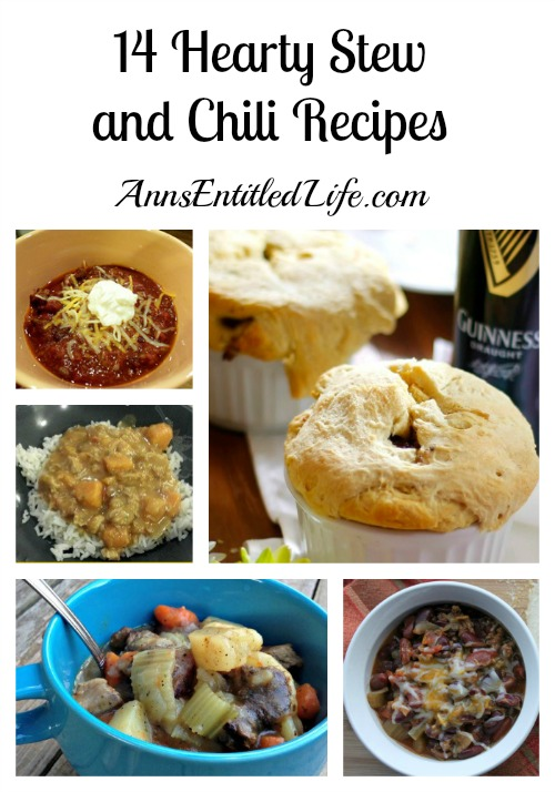 14 Hearty Stew and Chili Recipes. Baby it's cold outside! How about having one of these 14 Hearty Stew and Chili Recipes for dinner tonight? They are perfect for warming you up on a cold winter's night.