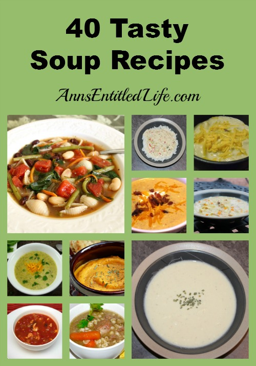 40 Tasty Soup Recipes. Looking for a hearty, tasty soup to keep you warm through the cold winter months? Here's a list of 40 Tasty Soup Recipes! They are perfect for warming you up on a frosty winter's night.