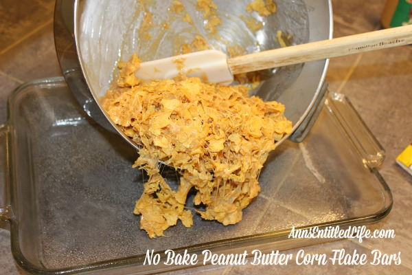 No Bake Peanut Butter Corn Flake Bars Recipe. Mix up a batch of these old-fashioned No Bake Peanut Butter Corn Flake Bars on a hot summer day.  Fast and simple to make, your family will love every delicious bite!
