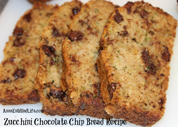 Zucchini Chocolate Chip Bread Recipe. This moist and delicious chocolate chip zucchini bread is the perfect way to use your great garden zucchini in a wonderful, sweet treat.