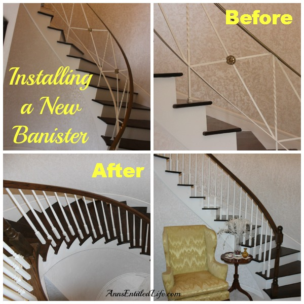 Installing a New Banister. If you are wondering how complicated it is to replace an existing banister on a circular staircase, this is the post for you! This is what happened when we replace an existing, ugly,  old fashioned staircase banister with an eye-catching wood statement banister.