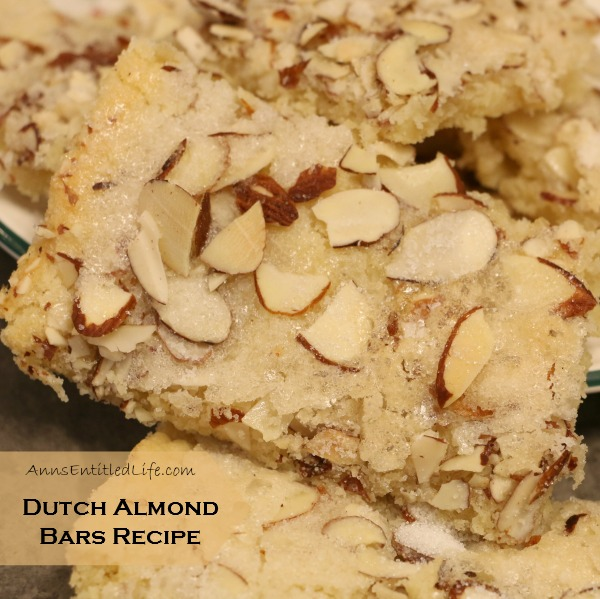 Dutch Almond Bars Recipe. Sweet and creamy butter, plus tasty almond goodness make for a rich and delicious cookie bar recipe. These slightly crunchy bars keep for days!