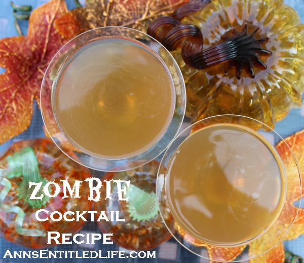 Zombie Cocktail Recipe; a spooktacularly strong Zombie Cocktail Recipe made with the classic recipe, perfect for your Halloween get together. Can be served lit or unlit.