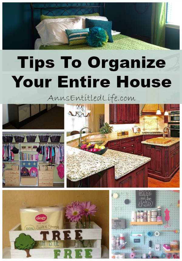 Tips To Organize Your Entire House. Organizing the whole house can be a daunting task. But with these ideas and advice, whole house organization is made easy. From kitchen to bedroom to mudroom to bathroom, here are some excellent tips to organize your entire house!