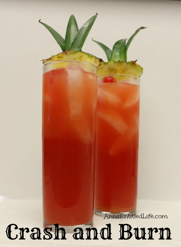 Crash and Burn Cocktail Recipe. Five liquors combine with three juices to make this fantastic, smooth and very drinkable Crash and Burn drink recipe!
