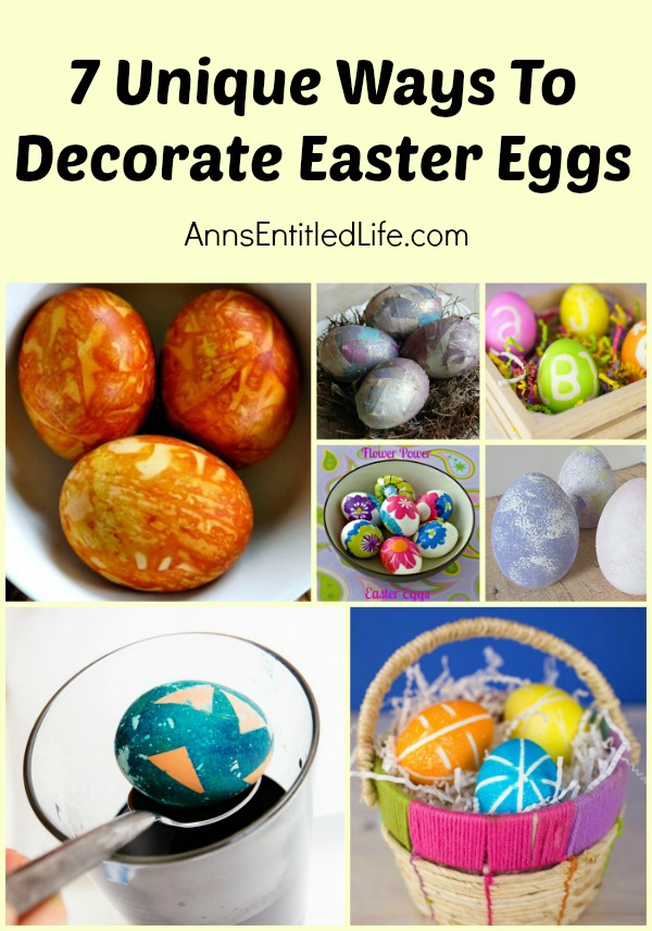 7 Unique Ways To Decorate Easter Eggs. These beautiful Easter egg dyeing and decorating techniques are perfect for your Easter Basket. This Easter, take your eggs one step further with one of these fun, creative, and easy decorating techniques.