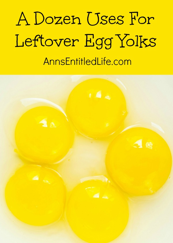 A Dozen Uses For Leftover Egg Yolks. Have a lot of leftover egg yolks from a baking project and don't want to throw them away?  Here are a dozen amazing (and incredible) things you can do with leftover egg yolks!