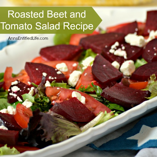 Roasted Beet and Tomato Salad Recipe. A beautiful, delicious, unique salad recipe that makes great use of fresh produce! Roasted beets, tomatoes, olive oil, vinegar and salad greens combine for a truly tasty side salad dish.