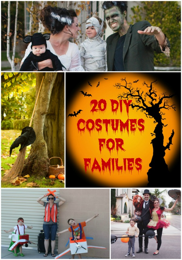 20 DIY Costumes For Families. Costume dress-up as a family or in a group is a lot of fun. If you need a DIY costume idea for that is suitable for your entire family, try one of these 20 DIY family friendly, family-themed costumes. These are great for family Halloween costumes or family costume parties.