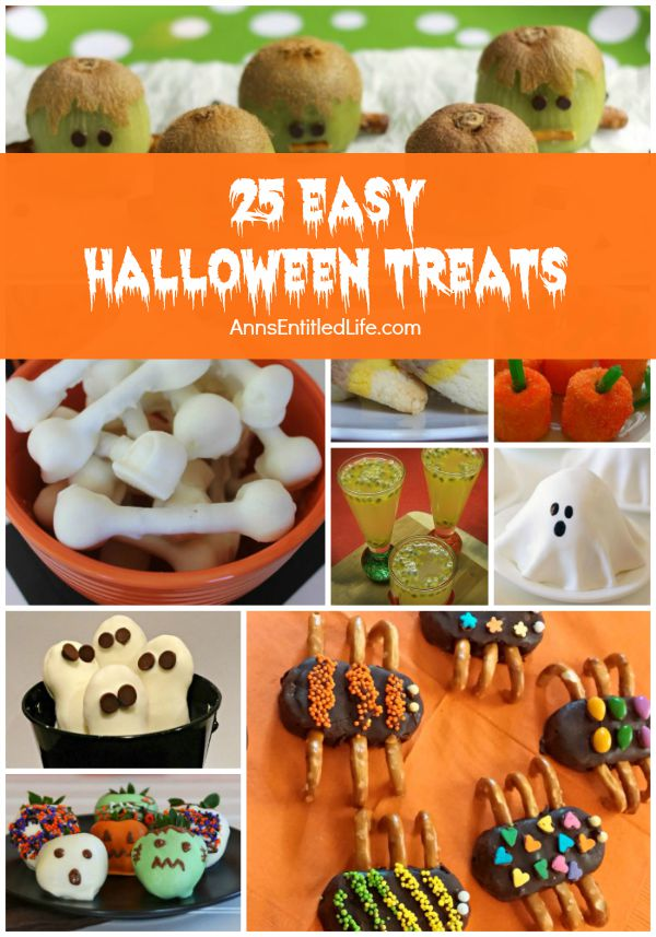 25 Easy Halloween Treats; looking for a simple yet funny, spooky or scary Halloween Treat recipe for your Halloween party? From ghosts and ghouls to mummies and pumpkins, you are sure to find the perfect, delightfully scary and sweet Halloween inspired recipe on this list of 25 Easy Halloween Treats.