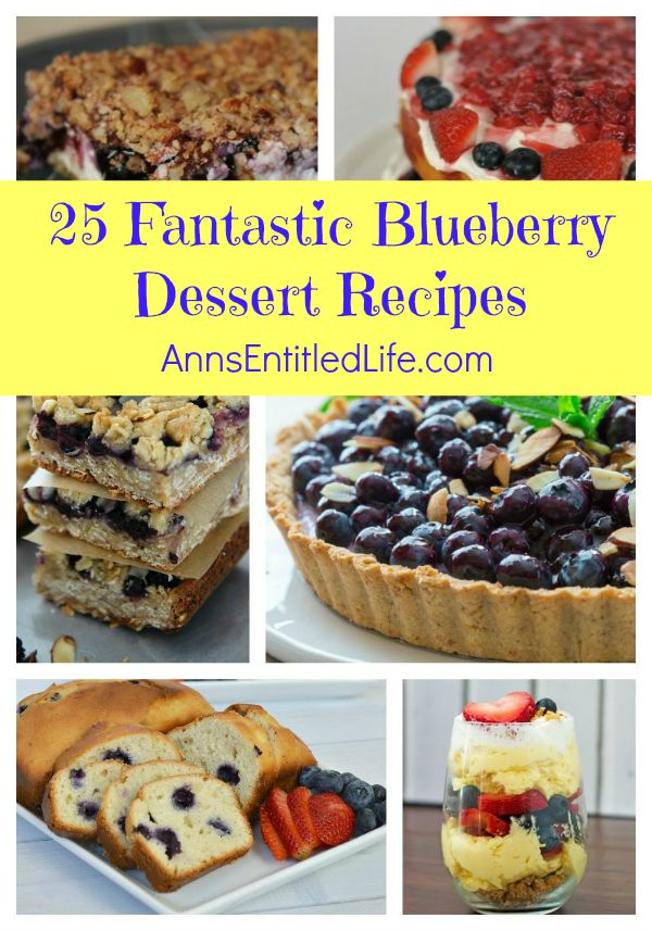 25 Fantastic Blueberry Dessert Recipes; Turn your blueberries into an irresistible treat! From cobblers to cakes, from tarts to pies, these 25 Fantastic Blueberry Dessert Recipes are bursting with ripe, juicy blueberry goodness. Try one of these amazing recipes tonight!