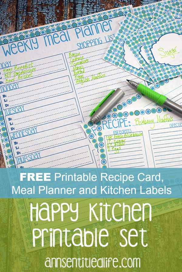 FREE Printable Recipe Card, Meal Planner and Kitchen Labels.  FREE Printable Recipe Card, Meal Planner and Kitchen Labels, a complete set!