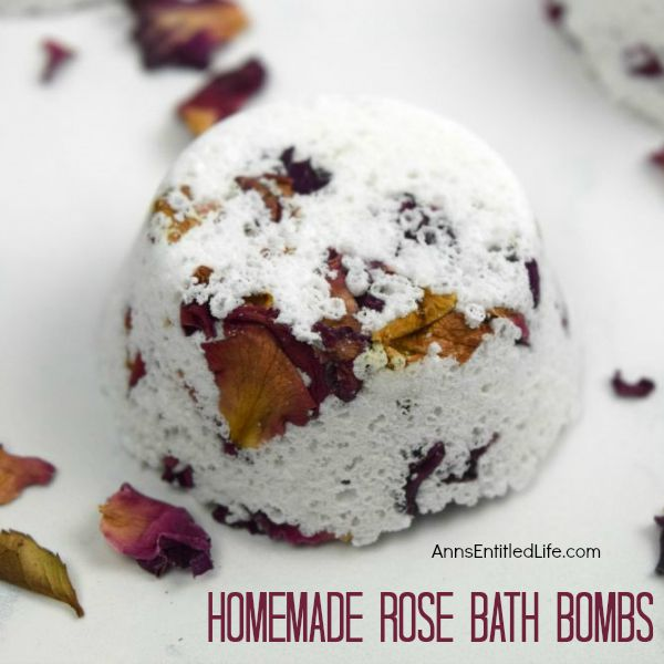 Homemade Rose Bath Bombs; Looking for a way to relieve your daily stress? A nice, long hot soak in a soothing bath can be just the answer. The scent you include in your bath will surround your senses making for a very pleasurable experience. These Homemade Rose Bath Bombs are simple to make, smell divine, and so relaxing in your bath water, you'll wish you had found the recipe and made them sooner. The dried rose buds add a romantic twist and a hint of true luxury.